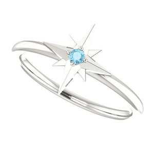 Silver Aquamarine Star Ring - MiShelli