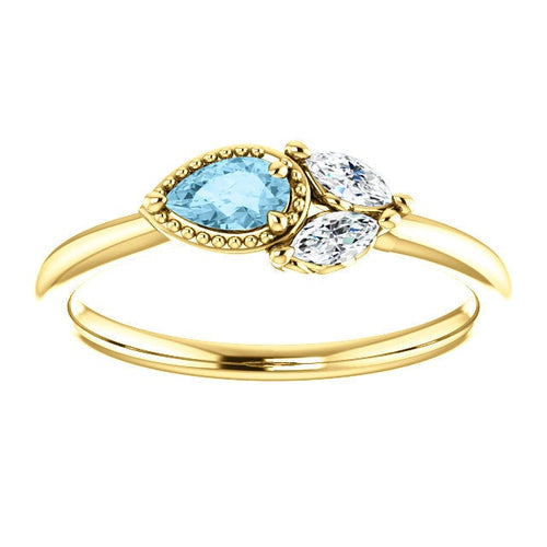 Aquamarine Sapphire 14K Gold Ring, Pear Aquamarine, Marquise Sapphire, Side Swept Cluster Ring, March Birthstone - MiShelli