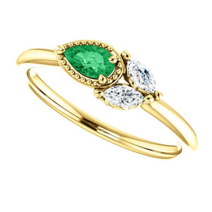 Emerald Pear Sapphire 14K Gold Ring, Marquise Sapphire, Side Swept Cluster Ring, Chatham Emerald - MiShelli