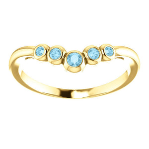 Aquamarine 14K Gold, Graduated Contour Band, 14K, 18K Rose, Yellow, White Gold - MiShelli