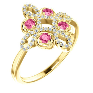 Tourmaline Diamond Unique Engagement Ring, Low Profile, Floral, Conflict Free, 14K, Statement Ring, Clover - MiShelli