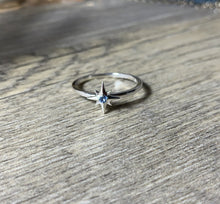 Load image into Gallery viewer, Your Birthstone Ring, Aquamarine Star Ring, Petite Sterling Silver Star, Select Your Birthstone, Gift for Her - MiShelli