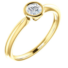 Load image into Gallery viewer, Rose Cut Moissanite 14K Gold Low Profile Bezel Ring, Forever One, Solitaire, Classic, Diamond Alternative - MiShelli