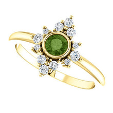 Load image into Gallery viewer, Green Tourmaline Diamond Ring, 14K Gold Cluster Bezel Gemstone Ring, Alternative Engagement, Statement Ring - MiShelli