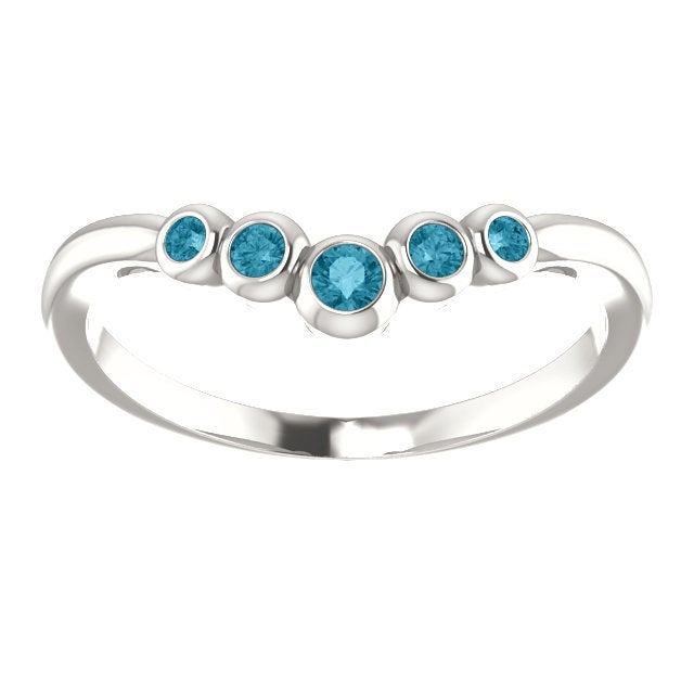 London Blue Topaz Ring, Low Profile, Graduated Contour Band, Sterling Silver, Birthstone Ring, Anniversary Band,
