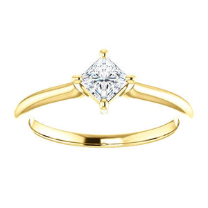 "Moissanite ""Forever One"" Solitaire 14K Gold Ring, Square Cut, Prong Setting, Charles & Colvard Moissanite Gemstone - MiShelli"