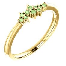 Load image into Gallery viewer, Green Apple Diamond Cluster Ring, Diamond Stacking Ring, 14k Gold, Low Profile, Non Traditional - MiShelli