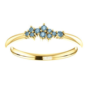 Teal Blue Diamond Cluster Ring, Diamond Stacking Ring, 14k Gold, Low Profile, Non Traditional - MiShelli