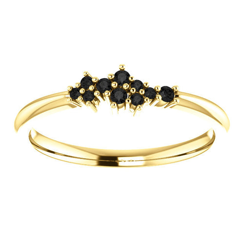Black Diamond Cluster Ring, Diamond Stacking Ring, 14k Gold, Low Profile, Non Traditional - MiShelli