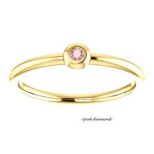 Teeny Colored Diamond 18K Gold Stacking Ring, Purple, Black, Red, Pink Genuine Diamond Ring - MiShelli