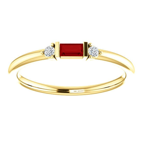 Ruby Baguette Diamond Mini Stacking Ring, 14K Gold, Birthstone Band, Non Traditional Wedding Ring - MiShelli