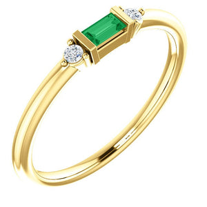 Emerald Baguette Diamond Mini Stacking Ring, 14K Gold, Birthstone Band, Non Traditional Wedding Ring - MiShelli