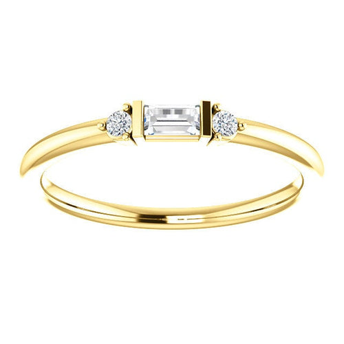 Diamond Baguette Mini Stacking Ring, 14K Gold, Birthstone Band, Non Traditional Wedding Ring - MiShelli