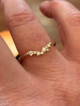 Load image into Gallery viewer, Cluster Ring 14K Gold, Diamond Stacking Ring, Wedding Band, Ring Wrap, 14k Gold - MiShelli