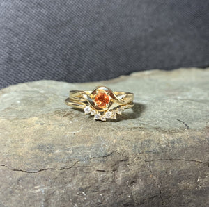 Padparadscha Sapphire 14K Gold Solitaire Ring, Chatham Sapphire Engagement, Non Traditional Engagement - MiShelli