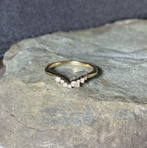 Cluster Ring 14K Gold, Diamond Stacking Ring, Wedding Band, Ring Wrap, 14k Gold - MiShelli