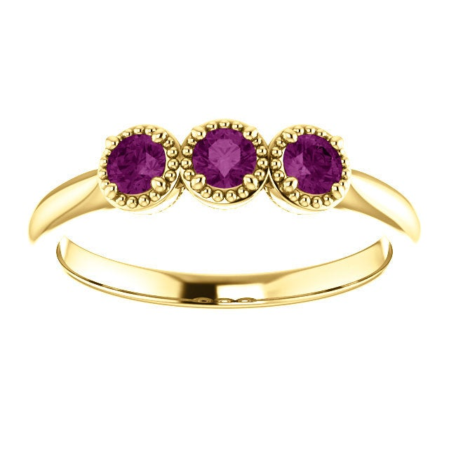 Unique Purple Diamond Ring, 14K Gold 3 Stone Stacking Band, Non Traditional Wedding - MiShelli
