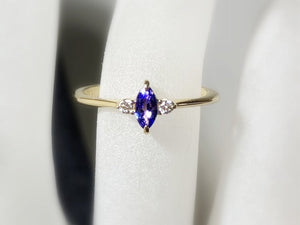 Tanzanite Diamond Ring, 14k / 18K Gold Prong Setting, Unique Engagement, Anniversary Ring - MiShelli
