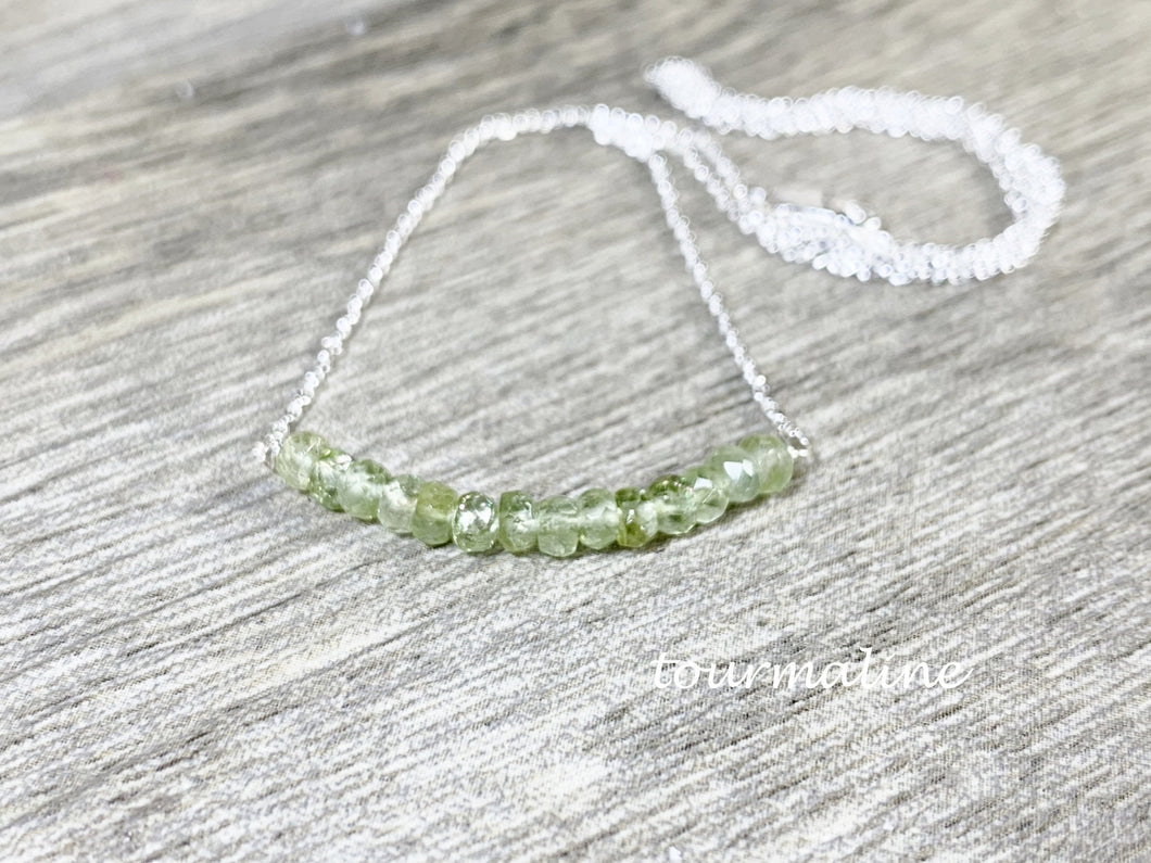 Green Tourmaline Bar Necklace, Layering Necklace, Gifts for Her, Chakra Gemstones, Healing Energies - MiShelli