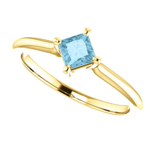 Aquamarine 14K Gold Ring, Size 7.25, March Birthstone - MiShelli