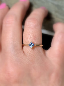 Aquamarine 14K Gold Solitaire Ring - MiShelli