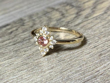 Load image into Gallery viewer, Lab Created Champagne Sapphire, Size 7.5 Diamond Cluster Princess Ring, 14K Gold