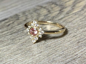 Lab Created Champagne Sapphire, Size 7.5 Diamond Cluster Princess Ring, 14K Gold