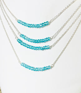 Aqua Apatite Bar Necklace Sterling Silver, Beaded Pendant, Layering Necklace - MiShelli