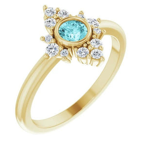 Blue Zircon Diamond Cluster Gemstone Ring, 14K/18K Bezel Set, Yellow, White, Rose Gold, Non Traditional Engagement, Cocktail Ring - MiShelli