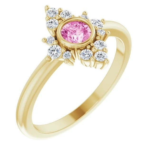 Pink Sapphire Diamond Cluster Gemstone Ring, 14K/18K Bezel Set, Yellow, White, Rose Gold, Non Traditional Engagement, Cocktail Ring - MiShelli
