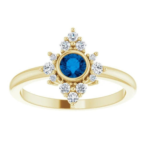 Blue Ceylon Sapphire Diamond Cluster Halo Gemstone Ring, 14K Gold Bezel, Yellow, White, Rose Gold, Non Traditional Engagement, Cocktail Ring - MiShelli