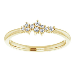 Diamond Cluster Stackable Ring, 14k Gold, Low Profile - MiShelli
