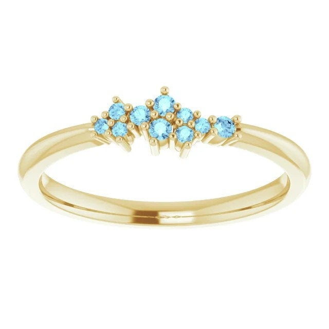 Aquamarine Cluster Stacking Ring, 14k Gold, Low Profile Anniversary Band, Birthstone Ring - MiShelli