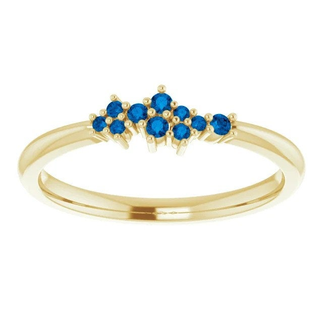 Ceylon Blue Sapphire Cluster Ring, Stacking Ring, 14k Gold, Low Profile, Non Traditional Wedding Band - MiShelli