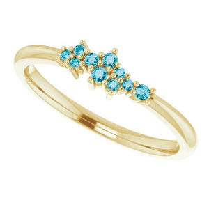 London Blue Topaz Cluster Stacking Ring, 14k Gold, Low Profile, Non Traditional Wedding Band, Birthstone Ring - MiShelli