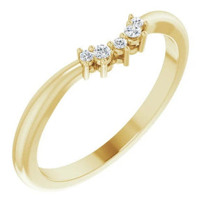 Diamond Contour Stacking Ring, 14K Gold Low Profile Band - MiShelli