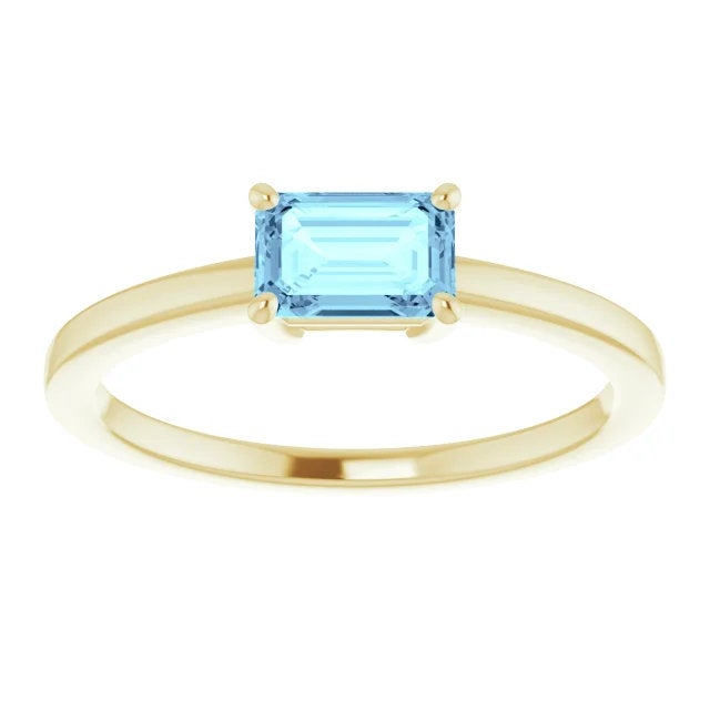 Aquamarine Emerald Cut Solitaire, 14K Gold, Octagon Birthstone Ring - MiShelli