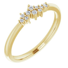 Load image into Gallery viewer, Diamond Cluster Stackable Ring, 14k Gold, Low Profile - MiShelli