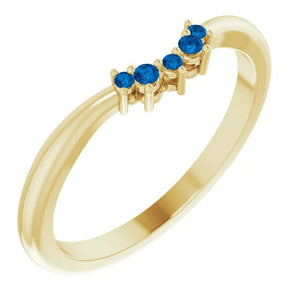Ceylon Blue Sapphire Contour Band, 14K Gold, Low Profile, Stackable, Non Traditional Wedding, Multi Stone Band, Yellow, White, Rose Gold - MiShelli