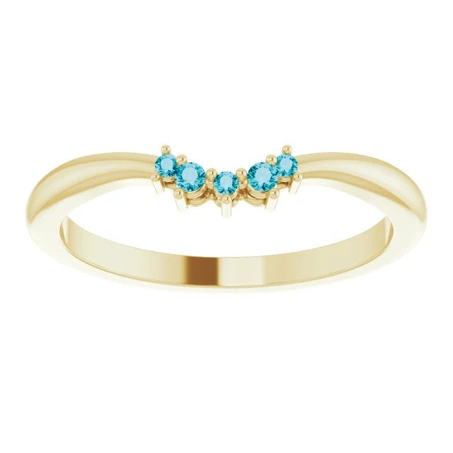 London Blue Topaz Contour Band, 14K Gold, Low Profile, Stackable, Non Traditional Wedding, Multi Stone Band, Yellow, White, Rose Gold - MiShelli