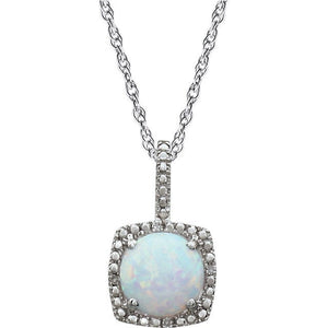Opal Gemstone Diamond Pendant Sterling Silver Necklace - Ready to Ship - MiShelli