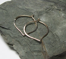 Load image into Gallery viewer, Pink Sapphire Hoop Earrings 14K Solid Gold, Lotus Petal Ear Wires, Gift for Her - MiShelli