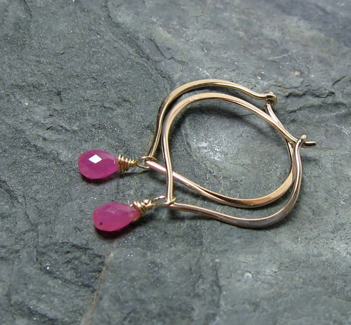 Pink Sapphire Hoop Earrings 14K Solid Gold, Lotus Petal Ear Wires, Gift for Her - MiShelli