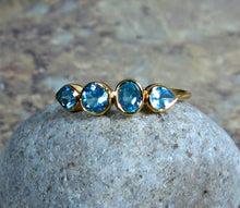 Load image into Gallery viewer, Blue Topaz Ring, 14K Gold, Art Deco, Multi Stone, Low Profile, Birthstone Band, Non Traditional Wedding - MiShelli