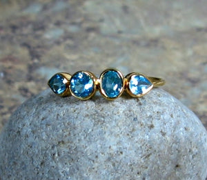 Blue Topaz Ring, 14K Gold, Art Deco, Multi Stone, Low Profile, Birthstone Band, Non Traditional Wedding - MiShelli