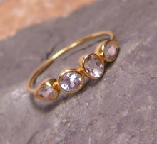 Load image into Gallery viewer, White Topaz 14K Gold Multi Stone Ring, Gemstone Band, Low Profile - MiShelli