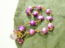 Load image into Gallery viewer, Purple Freshwater Pearl Bracelet Gold Filled, hand linked - MiShelli