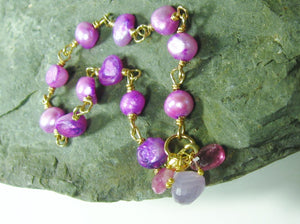 Purple Freshwater Pearl Bracelet Gold Filled, hand linked - MiShelli
