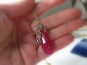 Gemstone Pendant, Ruby Red Chalcedony, Amethyst Cluster, Gold, Elongated - MiShelli