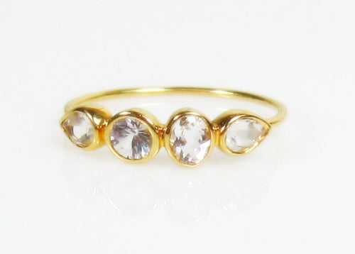 White Topaz 14K Gold Multi Stone Ring, Gemstone Band, Low Profile - MiShelli